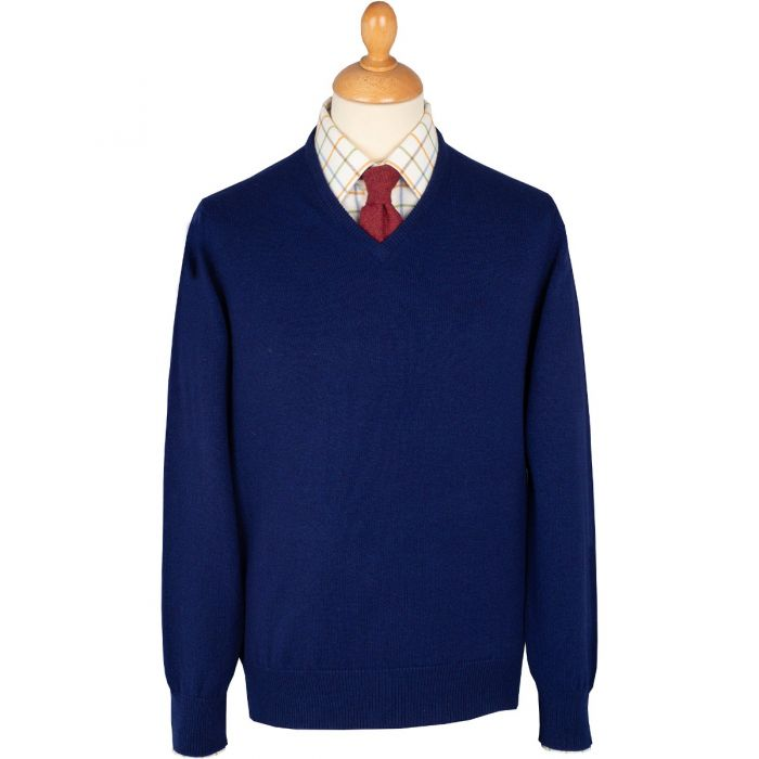 Colbalt Blue Lambswool V-Neck Jumper