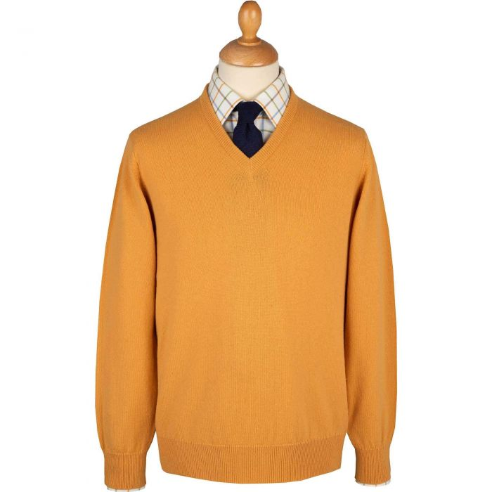 Gold Lambswool V-Neck Jumper