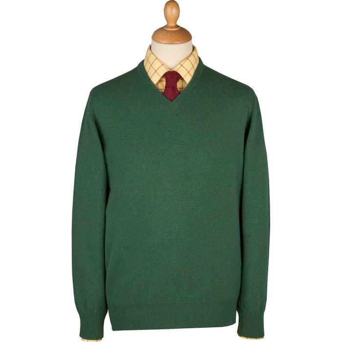 Green Heather Lambswool V-Neck Jumper