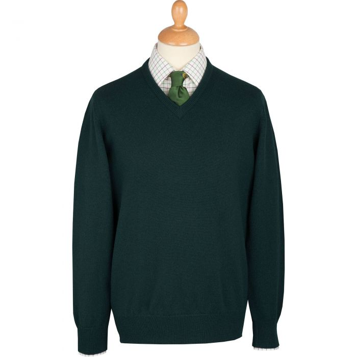 Tartan Green Men's Lambswool V-Neck Jumper