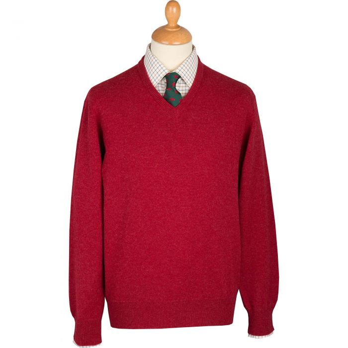 Berry Red Lambswool V-Neck Jumper