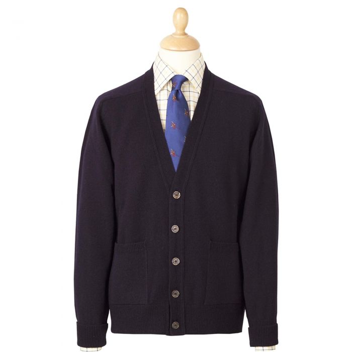 Navy V Neck Lambswool Cardigan