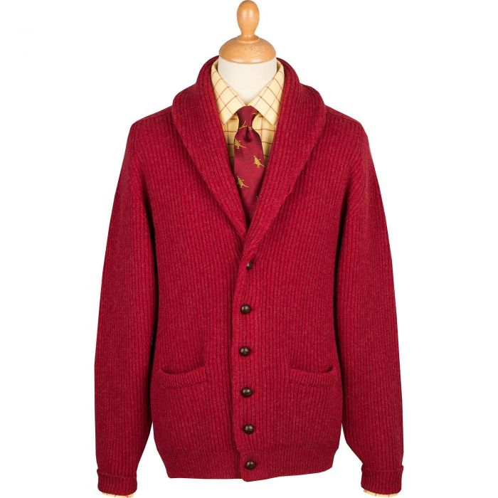 Berry Red 4 Ply Lambswool Cardigan