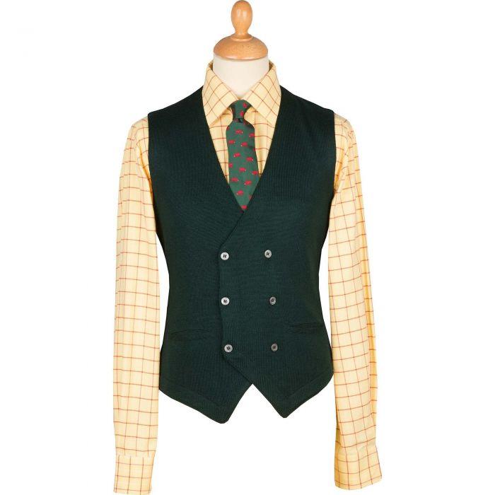 Bottle Green Double Breasted Merino Waistcoat