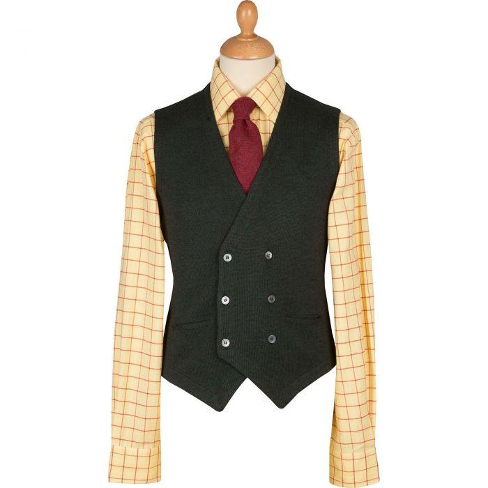 Olive Double Breasted Merino Waistcoat
