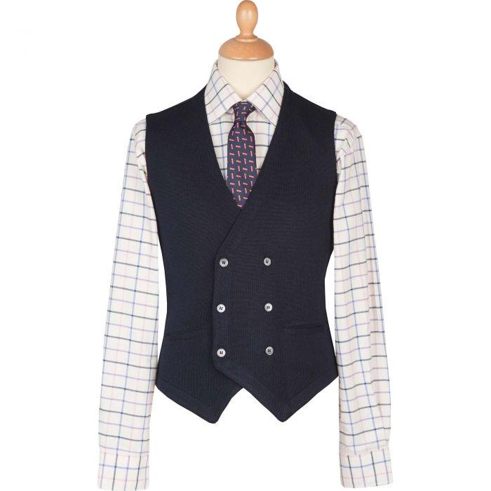 Navy Double Breasted Merino Waistcoat
