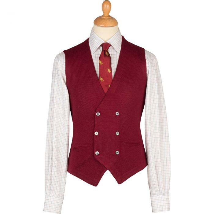 Wine Double Breasted Merino Waistcoat