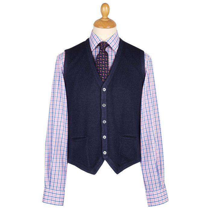Navy Blue Vintage Merino Waistcoat