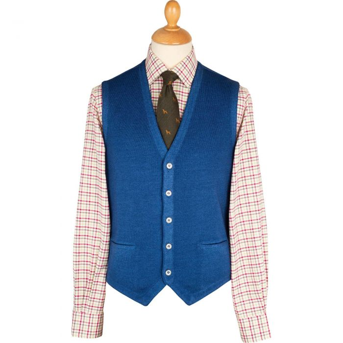Royal Blue Vintage Merino Waistcoat