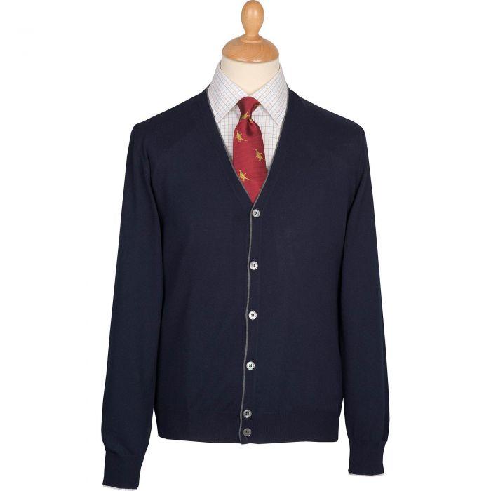 Navy Contrast Trim Cotton Cardigan