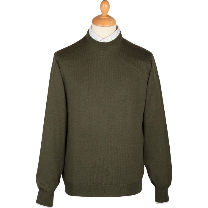 Green Heather Extrafine Merino Crew Neck Jumper