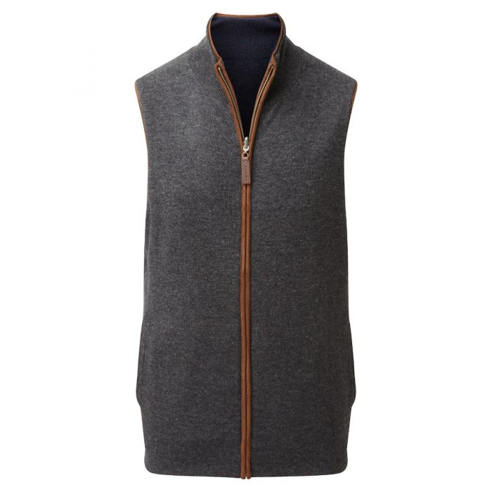 Schoffel Navy Charcoal Cashmere Reversible Gilet