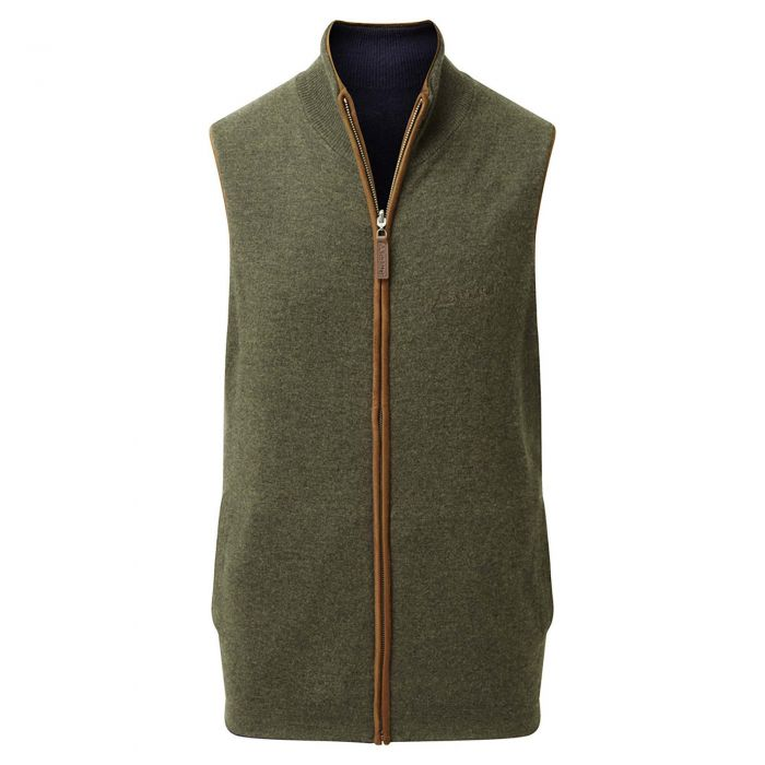 Schoffel Navy Green Cashmere Reversible Gilet