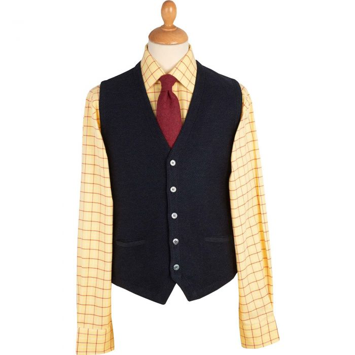 Navy Green Herringbone Merino Waistcoat