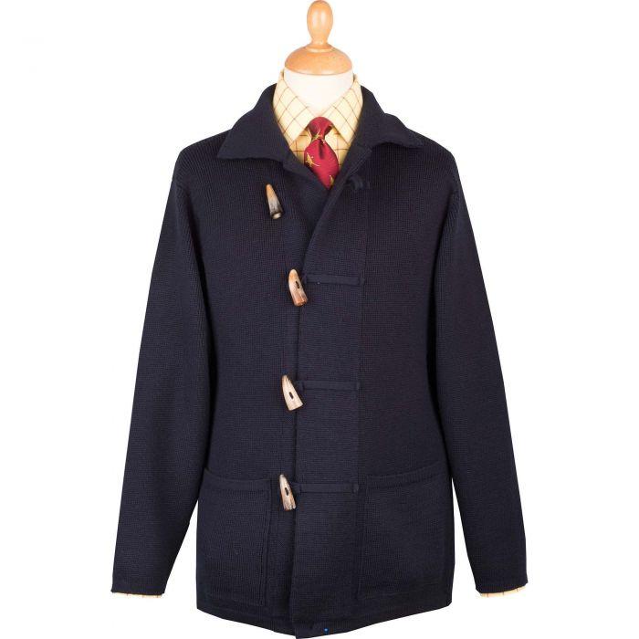 Navy 3 Ply Merino Duffle Knit Jacket
