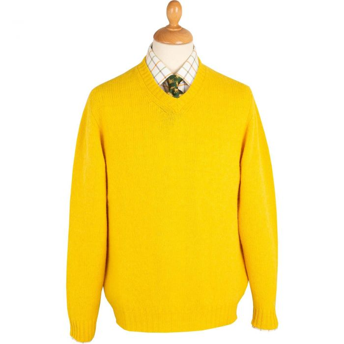 Gold Super Soft Shetland V-Neck Jumper