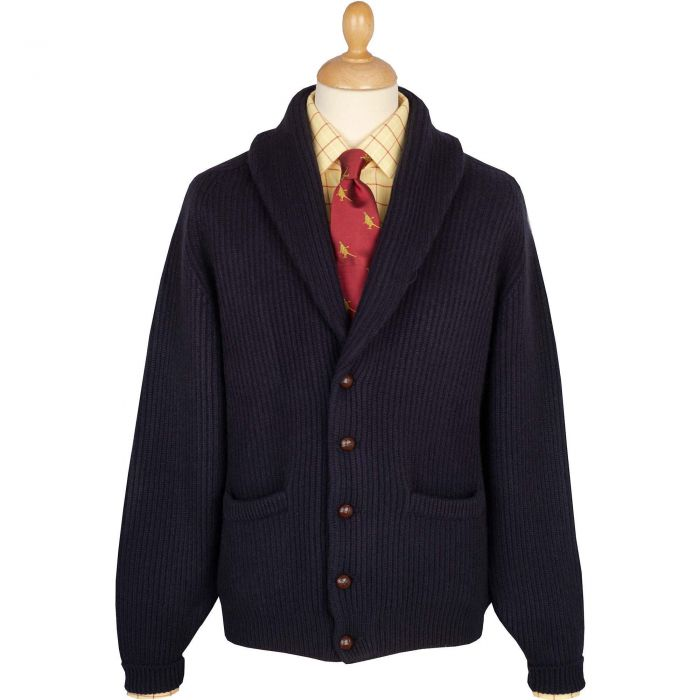 Navy 4 Ply Cashmere Cardigan