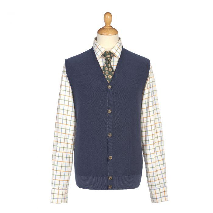 Blue Sleeveless Wool Cardigan