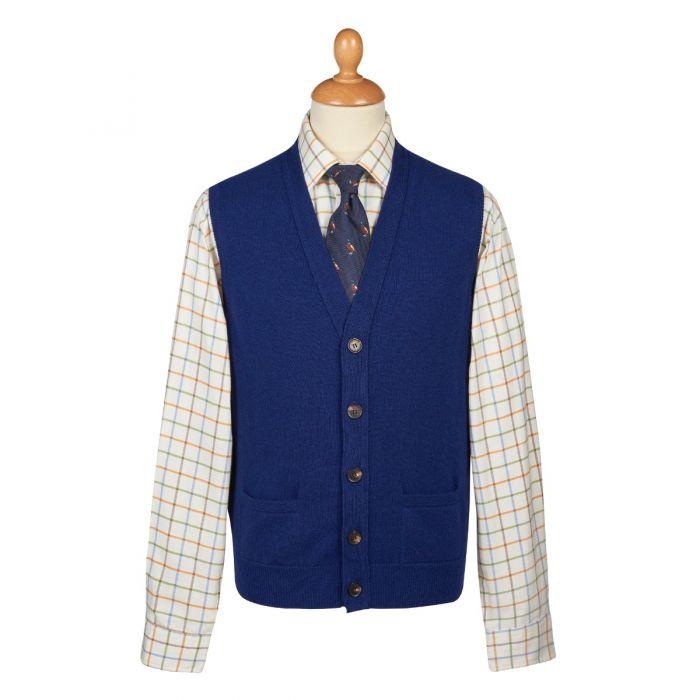 Indigo Blue Lambswool Knitted Waistcoat