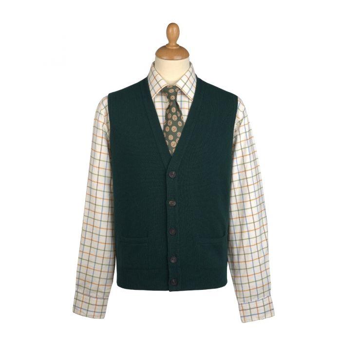 Tartan Green Lambswool Knitted Waistcoat