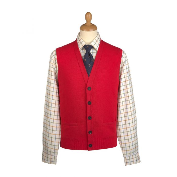 Red Lambswool Knitted Waistcoat