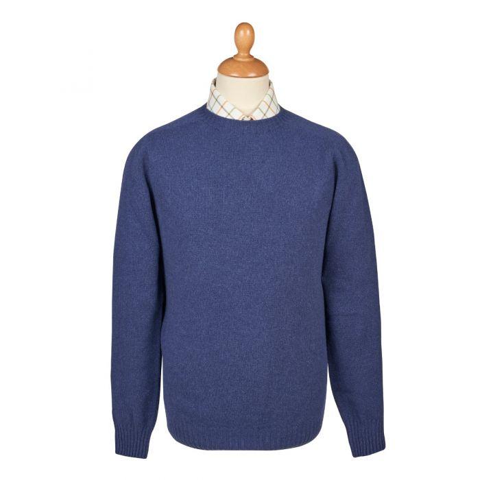 Denim Blue  Wool Cashmere 2 ply Crew Neck