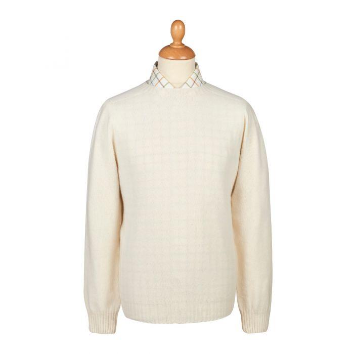 Cream Wool Cashmere 2 ply Crew Neck