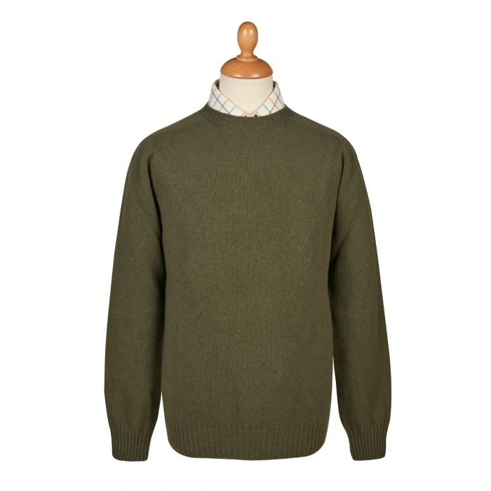 Olive Green Wool Cashmere 2 ply Crew Neck