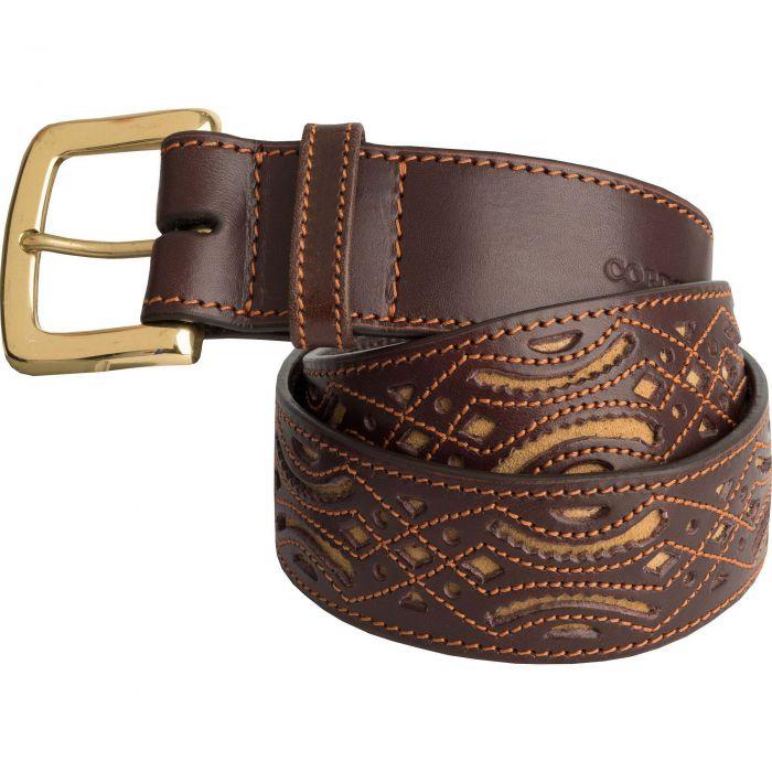 Tan Picado Suede Pattern Belt