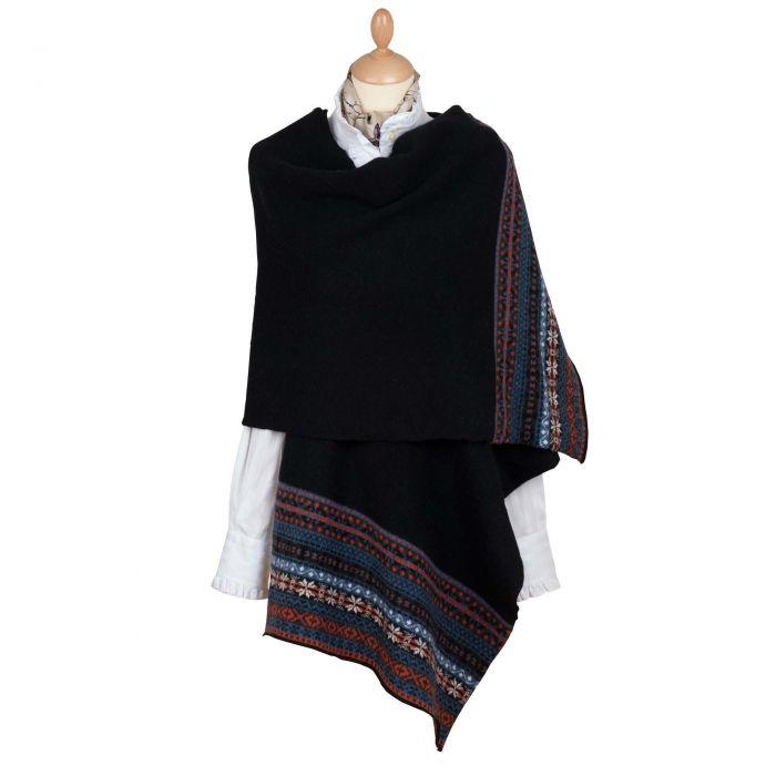 Black Scottish fairisle shawl
