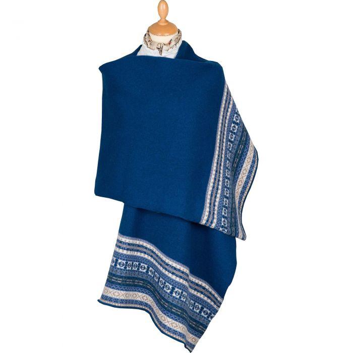 Blue Scottish fairisle shawl