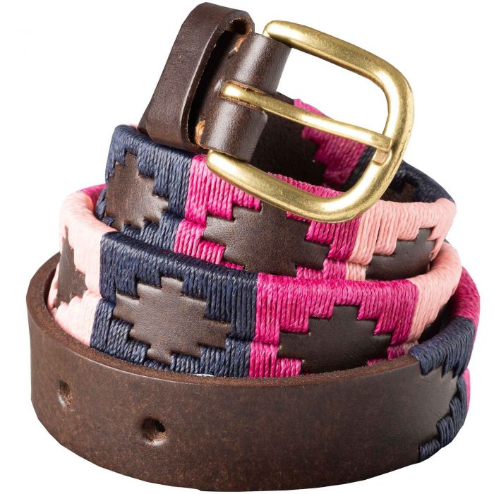 Pink Navy Argentinian Polo Belt
