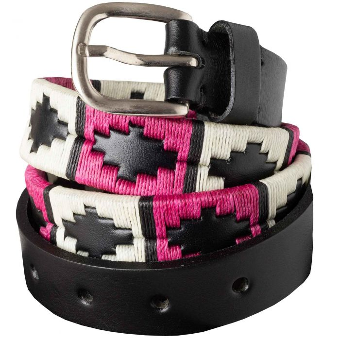 Pink White Argentinian Polo Belt