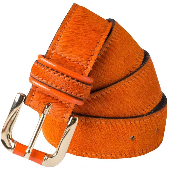 Orange Cowhide Belt