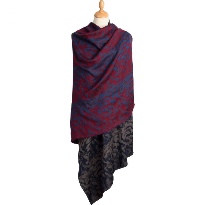 Navy Wool and Silk 2 tone Jacquard Scarf | Ladies Country Clothing |  Cordings