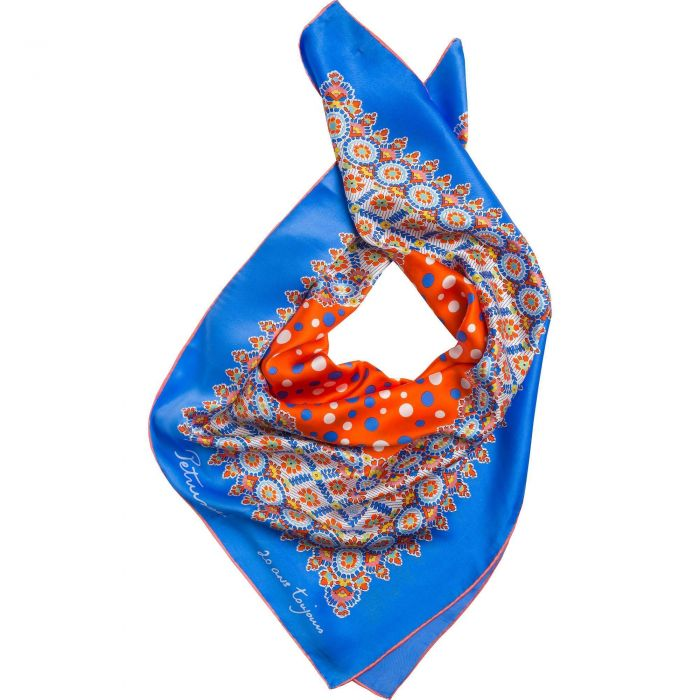 Blue Roulette Silk Square Scarf