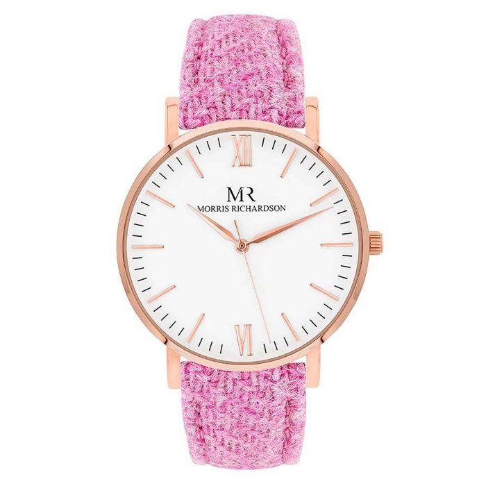 Pink Harris Tweed Watch