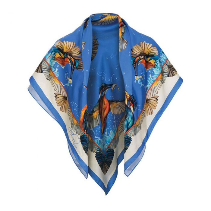 Blue Kingfisher Pure Silk Square Scarf