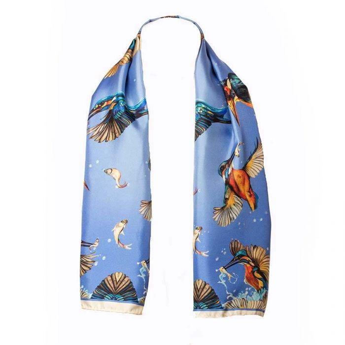 Blue Kingfisher Pure Silk Narrow Scarf