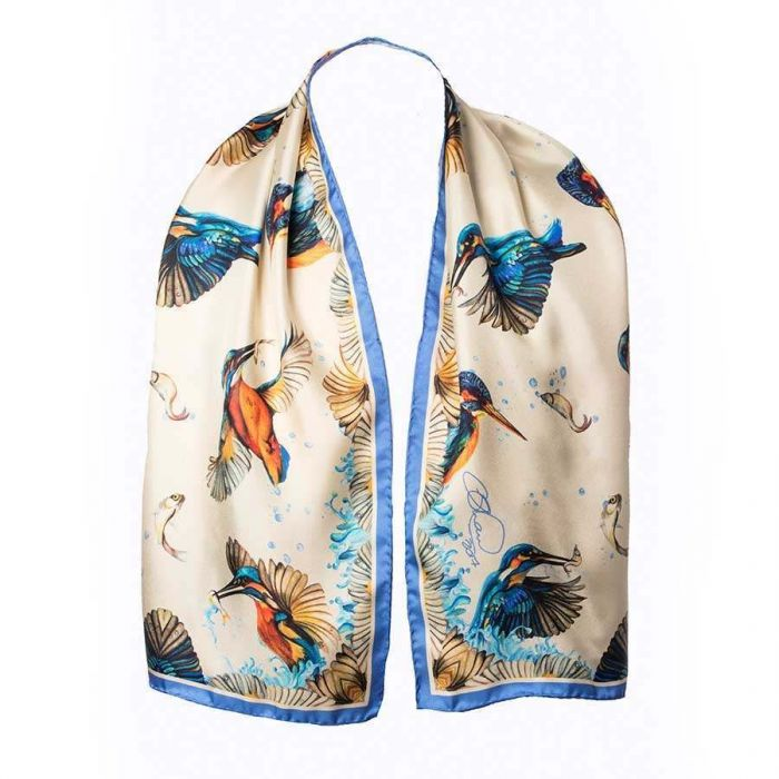 Cream Kingfisher Pure Silk Oblong Scarf