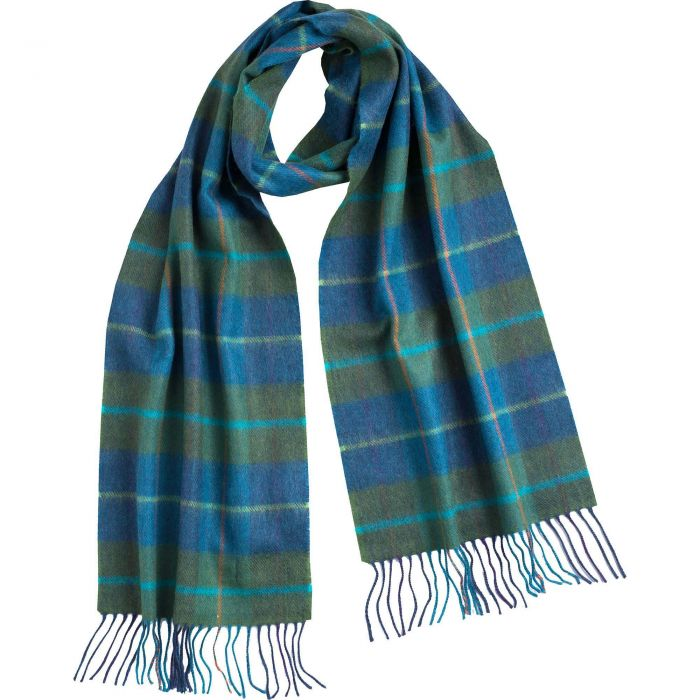 Green and Blue Check Merino Scarf