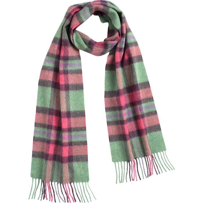 Pink and Green Lambswool Long Scarf