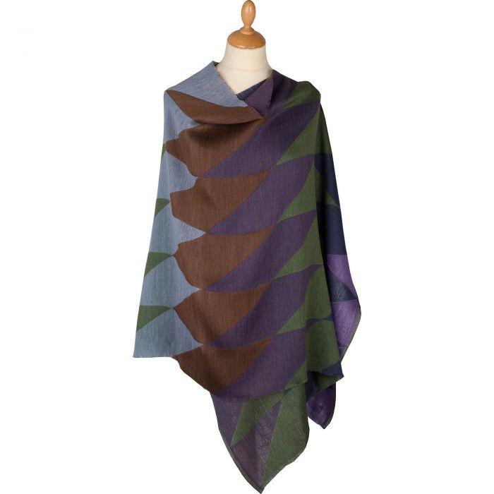 Purple Diamond Wool and Silk Jacquard Scarf
