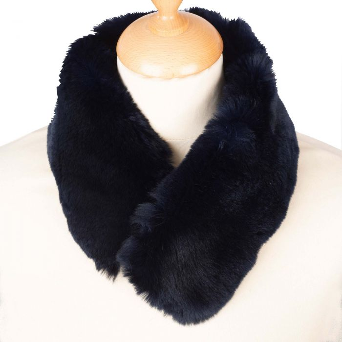 Navy Rabbit Fur Collar