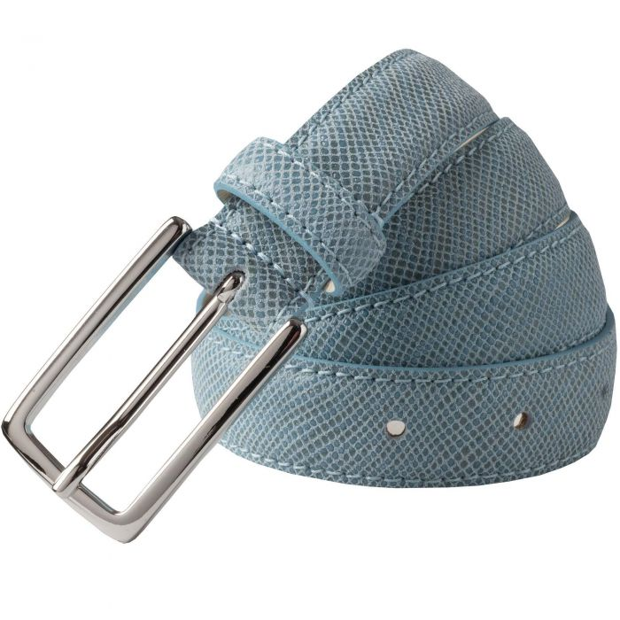 Pale Blue Thin Leather Belt