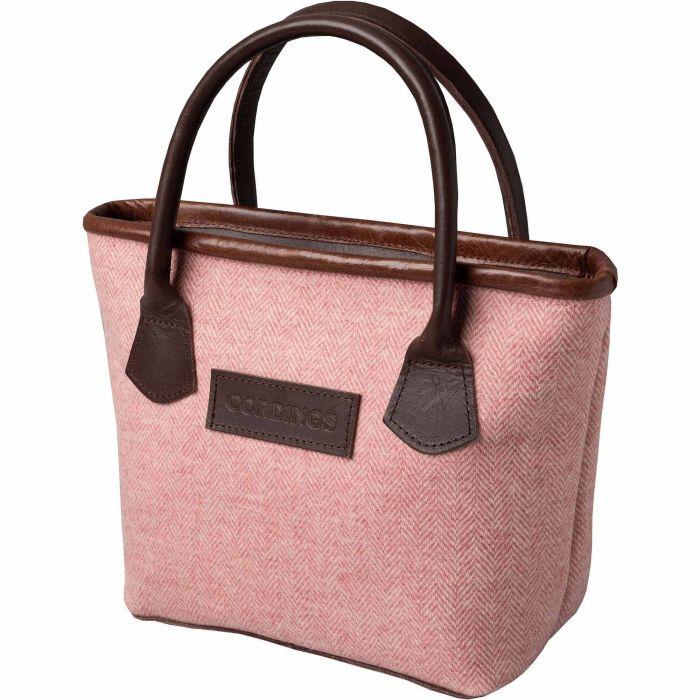 Pink Herringbone Tweed Tote Bag