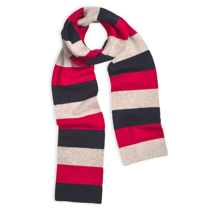 Navy and Red Lambswool Block Stripe Scarf