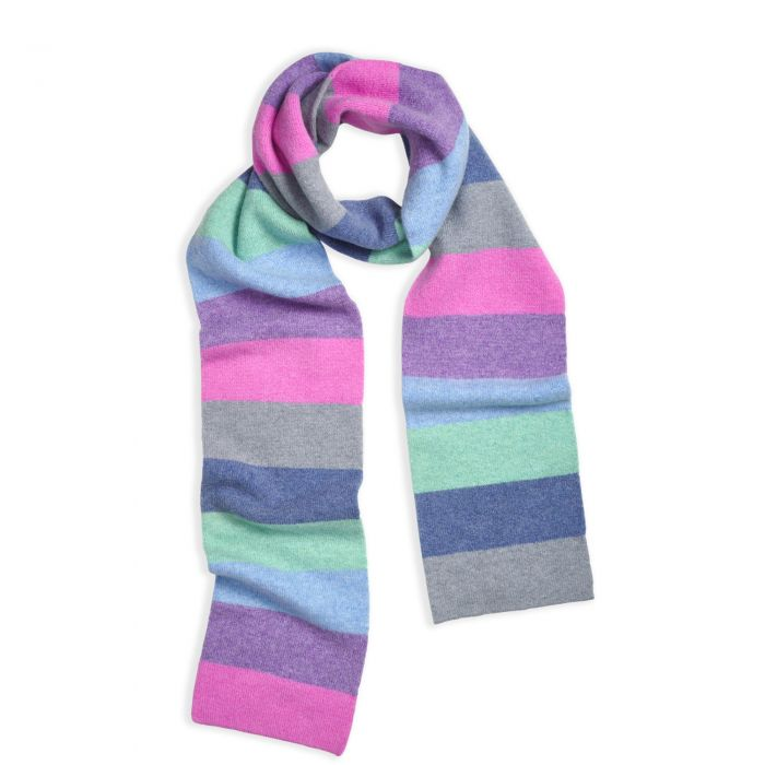 Pink and Lilac Lambswool Block Stripe Scarf