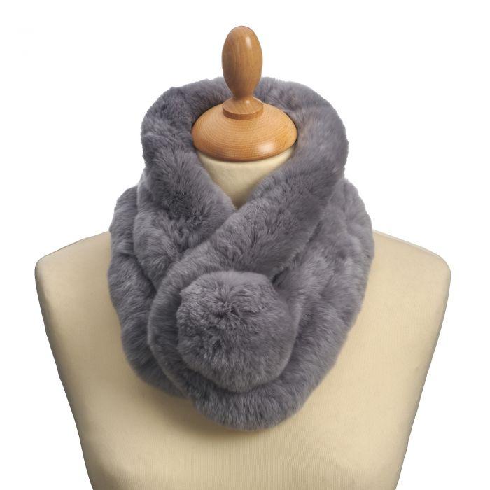 Grey Bobble Rabbit Fur Collar