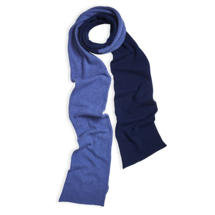 Blue Merino and Cashmere Two Tone Scarf